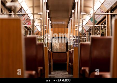 MUNICH, GERMANY - Jan 25, 2020: Interior of old vintage subway trains in Munich. Bavarian people commuting daily with these trains. Empty subway train