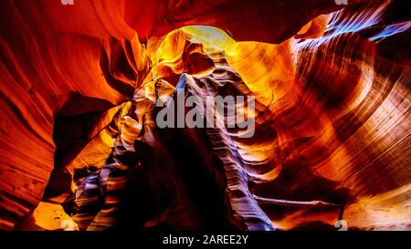 The smooth curved Red Navajo Sandstone walls of the Upper Antelope Canyon, one of the famous Slot Canyons in the Navajo lands near Page Arizona, USA