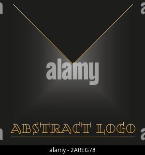 minimal black geometric logo and gold lettering - Stock Photo