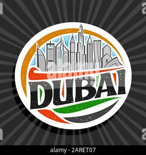 Vector logo for Dubai, white decorative round tag with line illustration of contemporary dubai cityscape on blue sky background, tourist fridge magnet - Stock Photo