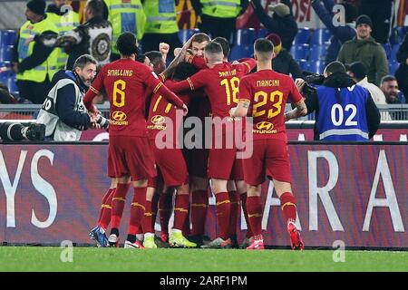 Edin Dzeko of Roma celebrates with his teammates after scring 1-0 goal during the Italian championship Serie A football match between AS Roma and SS Lazio on January 26, 2020 at Stadio Olimpico in Rome, Italy - Photo Federico Proietti/ESPA-Images - Stock Photo