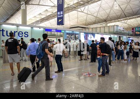 Lantau, Hong Kong  - September 18, 2019 : Departures gates  Hong Kong International Airport