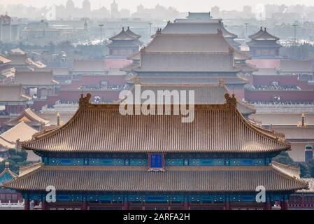 Forbidden City in Beijing, China, view from Jingshan Hill with Palace Museum.