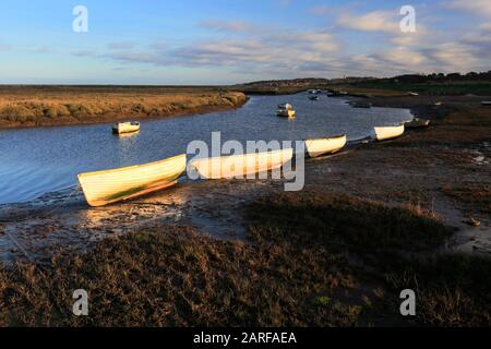 View over the Morston Salt Marshes from Morston Quay, North Norfolk, England, UK - Stock Photo