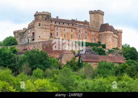 Chateau de Castelnau-Bretenoux in France. - Stock Photo