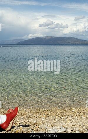beach of Valun,island cres,croatia. - Stock Photo