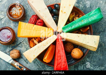 Various types of cheese or cheese plate - Stock Photo