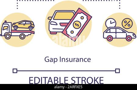 Gap insurance concept icon. Claim money support for car fix. Financial aid in time. Refund for vehicle idea thin line illustration. Vector isolated ou - Stock Photo