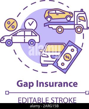 Gap insurance concept icon. Refund for car cost difference. Damage from accident. Financial aid idea thin line illustration. Vector isolated outline R - Stock Photo