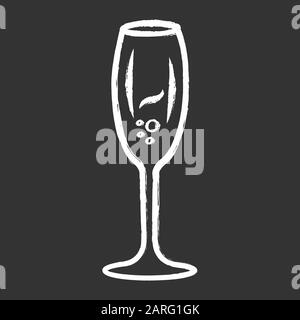 Sparkling wine chalk icon. Tulip wineglass. Champagne. Alcohol beverage. Party cocktail. Sweet aperitif drink. Tableware, glassware. Bar, restaurant. - Stock Photo
