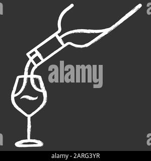 Wine service chalk icon. Alcohol beverage pouring in glass. Aperitif drink bottle. Barman, sommelier, winery. Bar, restaurant. Party, celebration. Iso - Stock Photo