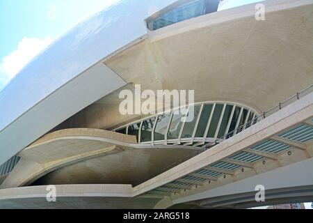 Palau de les Arts Reina Sofia. Detail. Ciudad de las Artes y las Ciencias, an architectural, cultural and entertainment complex designed by Santiago - Stock Photo