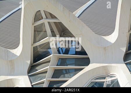 Detail of Santiago Calatrava's Museo de las Ciencias Principe Felipe. Ciudad de las Artes y las Ciencias, an architectural, cultural and