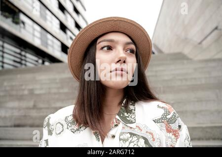 Portrait of woman wearing hat. Munich, Germany. Stock Photo