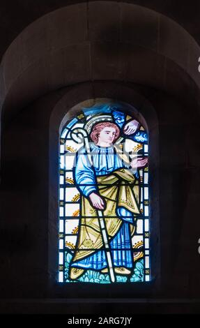 Stained glass depicting the Hand of God reaching out to a Prophet from the Old testament, St Catherine church Hoarwithy Herefordshire UK. February - Stock Photo