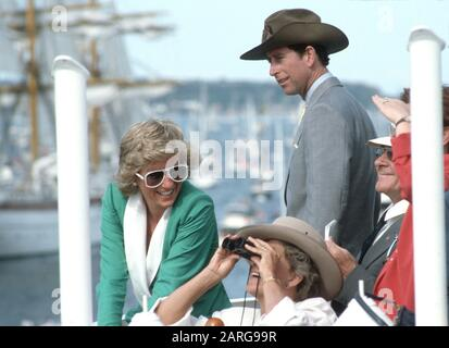 HRH Prince Charles and HRH Princess Diana attend Australian bicentennial day, Sydney harbour during their Royal Tour of Australia January 1988 Stock Photo