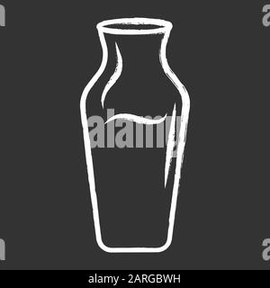 Wine service chalk icon. Decorative decanter with alcohol beverage. Aperitif drink. Party, holiday beverage. Bar, restaurant, winery. Glassware. Isola - Stock Photo