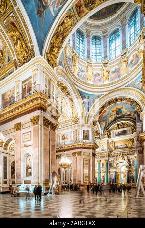 Interior of St. Isaac's Cathedral, St. Petersburg, UNESCO World Heritage Site, Leningrad Oblast, Russia, Europe - Stock Photo
