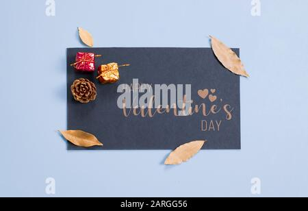 Happy valentine's day, greeting card, gift packages, leaf and pine cone, isolated background - Stock Photo