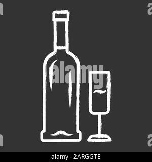 Open bottle and glass of champagne chalk icon. Wine service. Sparkling wine. Aperitif, alcohol beverage, drink. Glassware, winery, wineglass. Bar, res - Stock Photo