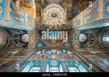 Interior of Church of the Savior on Spilled Blood (Church of the Resurrection), UNESCO World Heritage Site, St. Petersburg, Leningrad Oblast, Russia