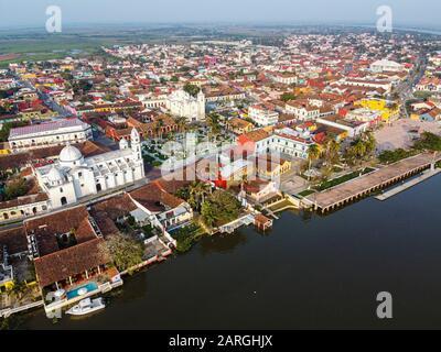 Aerial by drone of Tlacotalpan, UNESCO World Heritage Site, Veracruz, Mexico, North America - Stock Photo