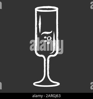 Sparkling wine glass chalk icon. Fort wineglass. Champagne, glassware. Alcohol beverage with bubbles. Party cocktail. Aperitif drink. Bar, celebration - Stock Photo