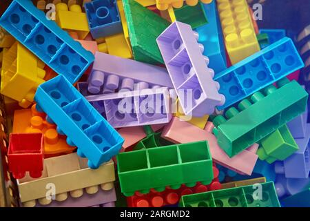 Children's designer blocks red green blu - Stock Photo