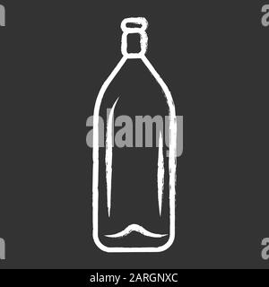 Wine service chalk icon. Alcohol drink. Champagne, beverage. Bottle with cork. Aperitif, winery. Pub, restaurant. Party beverage. Tableware, glassware - Stock Photo