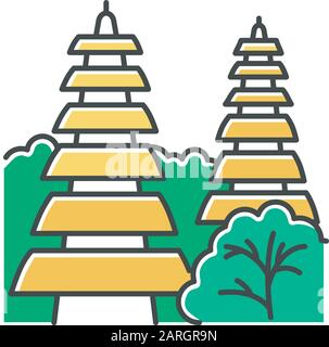 Pura Tanah Lot Temple In Bali Chalk Icon Indonesian Touristic Destinations And Religious Places Hinduist Temple With Traditional Balinese Grass Roof Stock Vector Image Art Alamy
