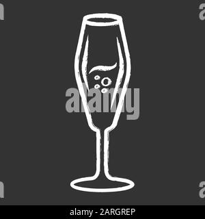 Flute wineglass chalk icon. Sparkling wine, champagne. Alcohol beverage with bubbles. Sweet aperitif drink. Tableware, glassware. Bar, restaurant. Iso - Stock Photo