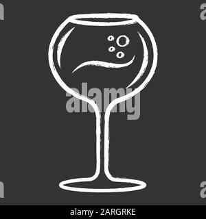 Wine glass chalk icon. Chardonnay wineglass. Alcohol beverage with bubbles. Party cocktail. Sweet aperitif drink. Tableware, glassware. Bar, restauran - Stock Photo