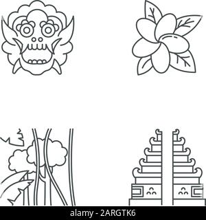 Indonesia Indonesia linear icons set. Tropical country nature. Indonesia islands. Exploring traditions. Thin line contour symbols. Isolated vector out - Stock Photo