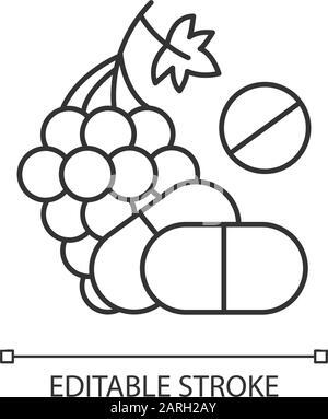 Vitamin intake linear icon. Grape, organic food. Nutritious diet supplement. Multivitamin complex. Thin line illustration. Contour symbol. Vector isol - Stock Photo