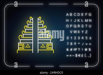 Pura Lempuyang temple neon light icon. Indonesian touristic destinations and religious places. Hinduist split gate entrance. Glowing sign with alphabe - Stock Photo
