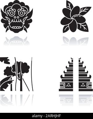 Indonesia drop shadow black glyph icons set. Tropical country plants. Vacation in Indonesia. Exploring traditions, culture. Unique flora. Bali sightse - Stock Photo