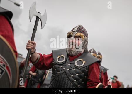 Lerwick, Shetland Isles, Scotland, UK. 28th January 2020. Up Helly Aa viking fire festival which is unique to the Shetland Isles. - Stock Photo