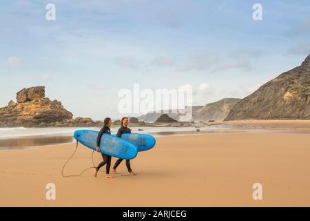 Surfing, Praia do Castelejo, Algarve, Portugal - Stock Photo