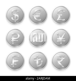 Silver coins with symbols of top world currencies. Vector illustration - Stock Photo