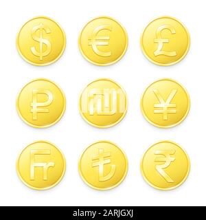 Gold coins with symbols of top world currencies. Vector illustration - Stock Photo