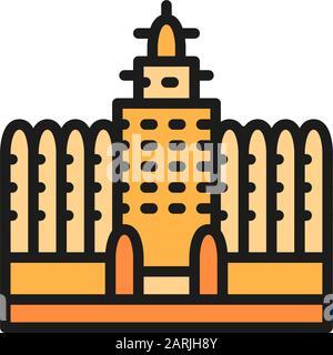Sudano Sahelian Architecture in Mali flat color line icon. - Stock Photo