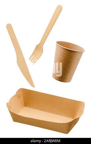 Zero waste, eco friendly, disposable paper tableware isolated on white. - Stock Photo