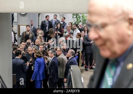 Washington, United States. 28th Jan, 2020. The media is seen shortly before a press conference in the basement of Capitol Hill on Tuesday, January 28, 2020. President Trump's impeachment defense team has wrapped up and the trial will continue on Wednesday. Photo by Alex Wroblewski/UPI Credit: UPI/Alamy Live News - Stock Photo