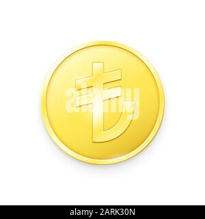 Gold coin with Turkish Lira sign. Vector illustration showing the symbol of the currency of Turkey in the form of a gold coin - Stock Photo