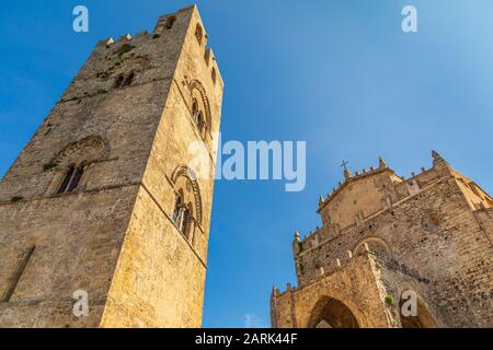 Italy, Sicily, Trapani Province, Erice. The Torre campanaria del Duomo dell'Assunta at the Chiesa Madre, built in 1314 in the Gothic style, by King Fr