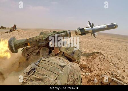 Infantry Soldiers with 1st Battalion, 8th Infantry Regiment, 3rd Armored Brigade Combat Team, 4th Infantry Division, fire an FGM-148 Javelin during a combined arms live fire exercise in Jordan on August 27, 2019, in support of Eager Lion. Eager Lion, U.S. Central Command's largest and most complex exercise, is an opportunity to integrate forces in a multilateral environment, operate in realistic terrain and strengthen military-to-military relationships. (U.S. Army photo by Sgt. Liane Hatch) - Stock Photo