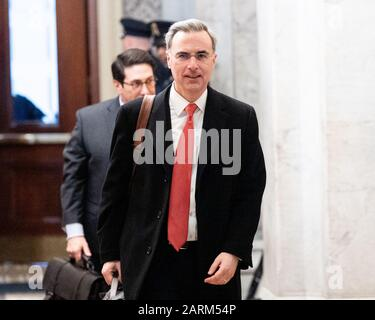 Washington, United States. 28th Jan, 2020. Pat Cipollone, White House counsel, arrives for the Senate impeachment trial in Washington, DC. Credit: SOPA Images Limited/Alamy Live News - Stock Photo