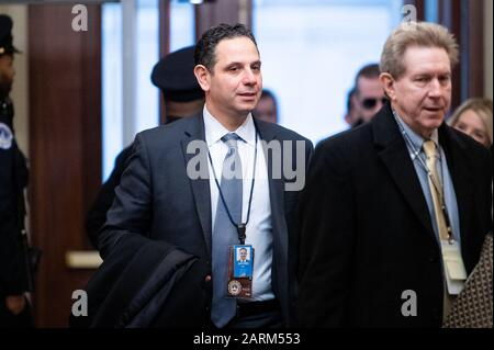 Washington, United States. 28th Jan, 2020. Tony Sayegh arrives for the Senate impeachment trial in Washington, DC. Credit: SOPA Images Limited/Alamy Live News - Stock Photo