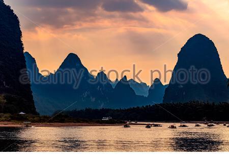 LIjiang River at Xingping, Yangshuo, Guilin,Guangxi,China - Stock Photo