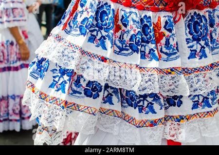 Details of the typical Panamanian dress known as pollera. The pattern is all handmade using different embroidery techniques - Stock Photo